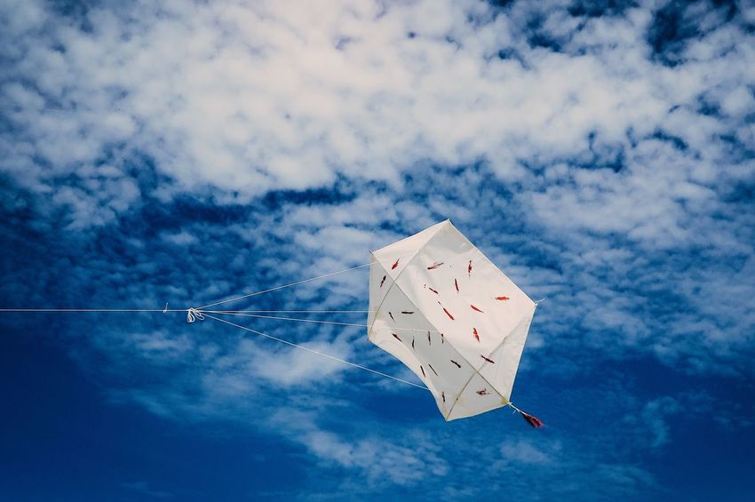 EyeEm Selects Sky Low Angle View Cloud - Sky Outdoors Blue Mid-air Flying No People Nature Kite Flying Kite