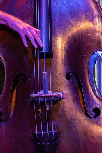 Concert Photography: Jazz Instruments: Double Bass Musical Instrument String Instrument Musical Equipment Music Arts Culture And Entertainment Musical Instrument String String Indoors  Double Bass Close-up Playing One Person Purple Wood - Material Bass Instrument Nightlife Human Hand Plucking An Instrument