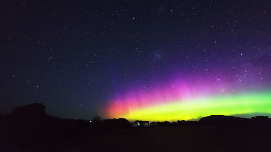 Aurora Australis Rayed Arc Geomagnetic Disturbance Kp-index Astronomy Beauty In Nature Dark Environment Geomagnetic Storm Idyllic Landscape Majestic Nature Night No People Non-urban Scene Outdoors Scenics - Nature Sky Solar Storm Southern Hemisphere Southern Lights Space Star Star - Space Star Field Tranquil Scene