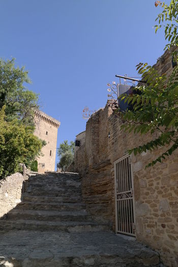 Architecture Blue Sky Brick Chateauneufdupape Green Historic Old Ruin Pathway Provence Stairs Stairway Stonewall Wall