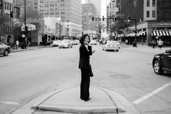 Woman Street Streetphotography Blackandwhite Fujifilm Black Hair Chicago Real People FUJIFILM X-T1 Fuji Business Black Suit WomeninBusiness