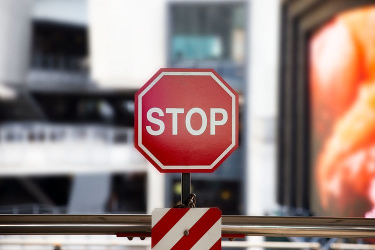 Close-up of stop sign
