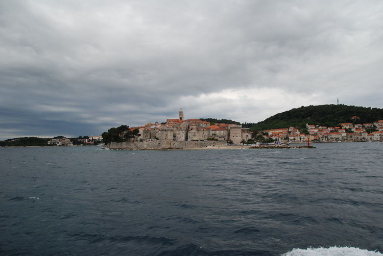 Croatia Croatia Coast Korčula Old Town Old Town On Coast See Coast Sky And Clouds Water
