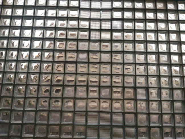 Arrangement Backgrounds Close-up Day Full Frame Glass - Material Glass Blocks Glass Windows In A Row Indoors  No People Pattern Pattern, Texture, Shape And Form Square Variation Window