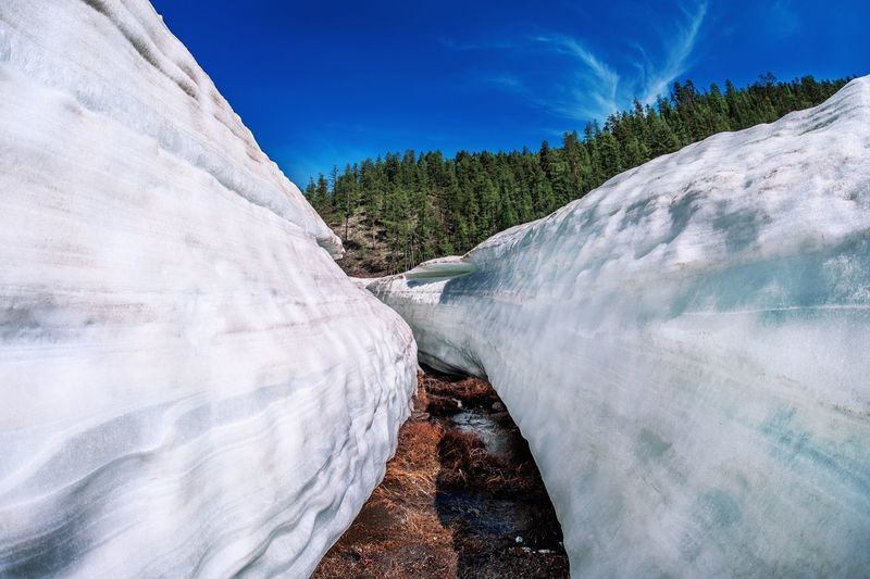 Narrow footpath amidst glaciers