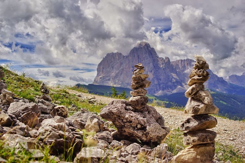 Panoramic view of rocks and mountains against sky