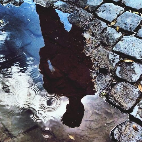 Riflections in the city Rome Street Streetphotography Olympus Water Water Reflections Day Outdoors Nature Close-up Backgrounds Puddle The Street Photographer - 2017 EyeEm Awards