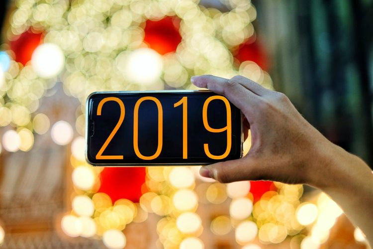 Happy New Years 2019 Christmas Lights Human Hand Business Text Multi Colored Close-up Christmas Decoration Christmas Ornament Christmas Market Christmas Bauble Candy Cane Santa Claus Religious Event Christmas Stocking christmas tree Christmas