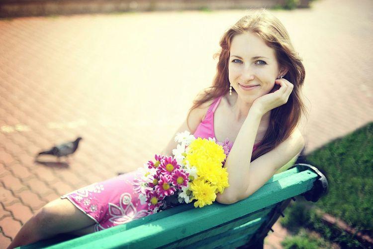 Spring Into Spring Flowers Girl Blossoming  Fresh Smile Kiev Mylife Model