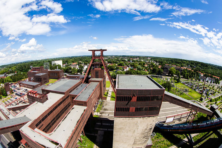 Zeche Zollverein Aerial View / (c) Nidal Sadeq Coal Mine Earth Rust Urban Gardening Zeche Zollverein Architecture Building Exterior Built Structure City Cityscape Climate Climate Change Cloud - Sky Coal Coalmine Day Fisheye Industrial Landscapes Nature No People Outdoors Roof Sky Tree Urban Garden