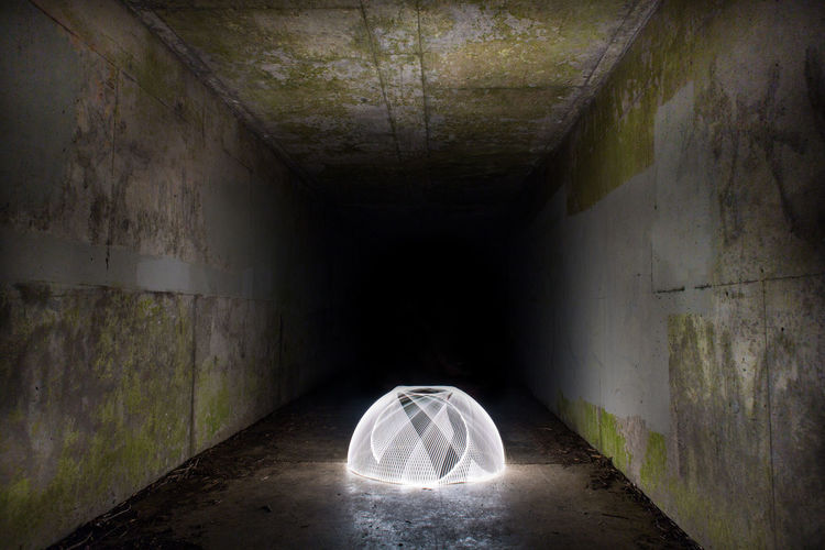 Light Light Painting Sphere Abandoned Arch Architecture Concrete Direction Dome Illuminated Light Light At The End Of The Tunnel Lighting Equipment Motion Night No People Tunnel Wall - Building Feature