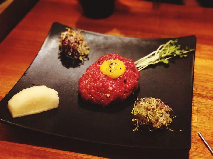 Asianfood Korean Food 육회 Beef Sushi