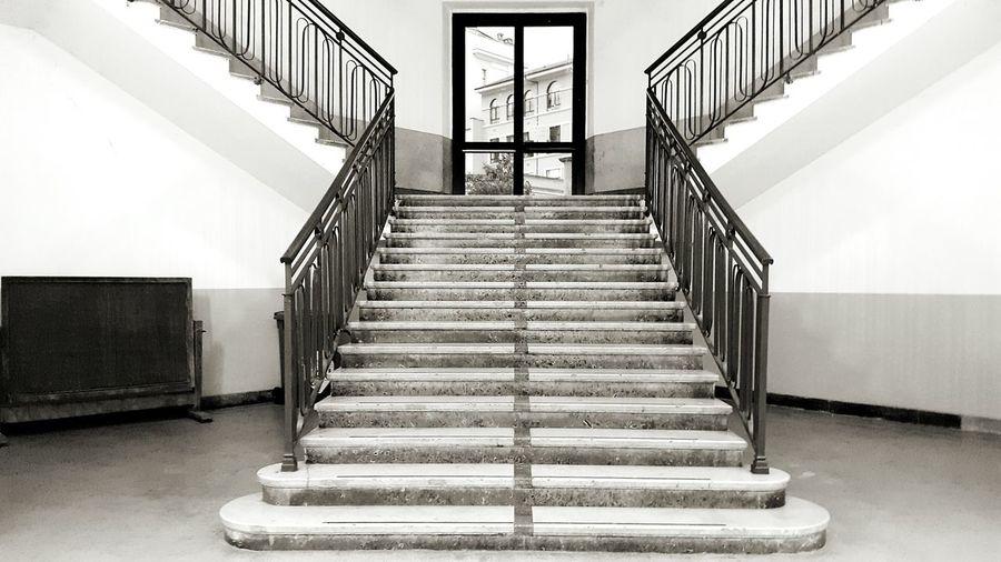 Staircase Steps And Staircases Steps Indoors  The Way Forward No People Day School Blackandwhite Railing Blackandwhite Photography Black And White Black & White