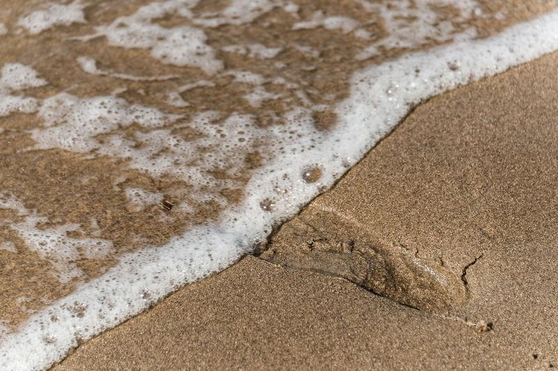 Close-up of footprint on beach