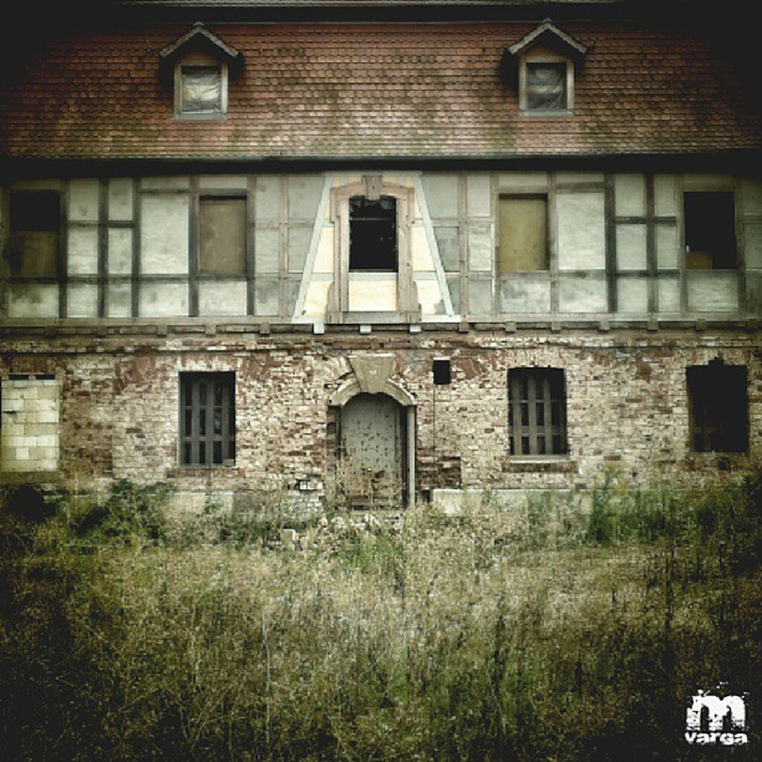 architecture, building exterior, built structure, window, grass, abandoned, house, residential structure, old, building, residential building, obsolete, damaged, field, plant, exterior, day, run-down, outdoors, facade
