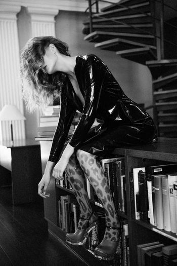Smooth Confess Black And White Latex Fashion Black Dress Latex Dress  Long Legs Library Books Stairs Model Test Shoot Curly Hair Women Fashion Pretty Girl Linas Was Here