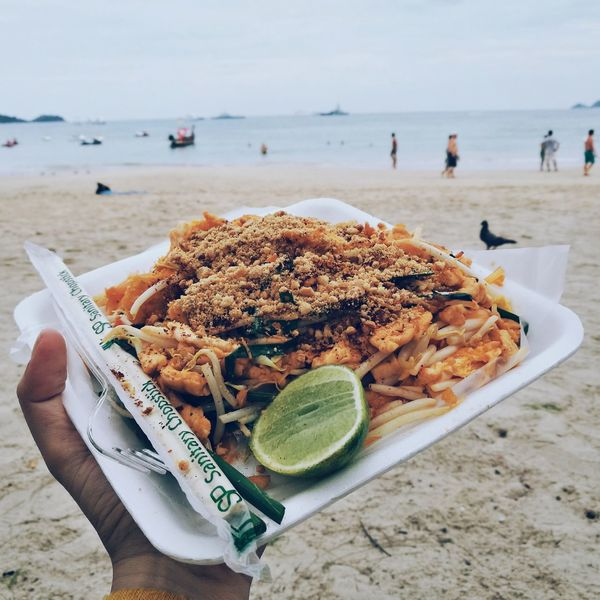 MemoriesThe Portraitist - 2017 EyeEm Awards EyeEm Selects Beach Sand Food Lemon Food And Drink Incidental People Sea SLICE Plate Freshness Ready-to-eat Lime Citrus Fruit Healthy Eating People Water Close-up Day Outdoors Horizon Over Water Padthai Food PadThaiLover Thailand