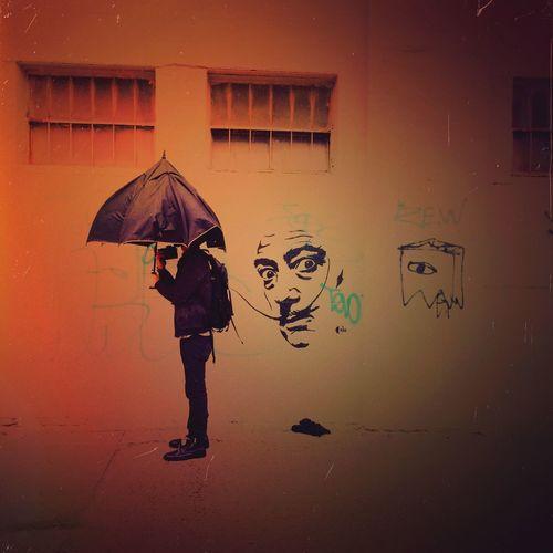 // I am not mad... // Bushwick Brooklyn Graffitti Graffiti Art Dalí Salvadordali NYC Photography Rain Umbrella