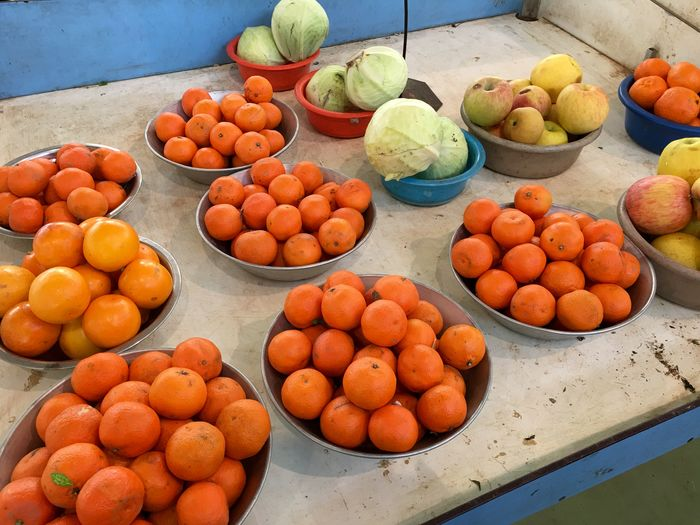 High angle view of oranges at market stall