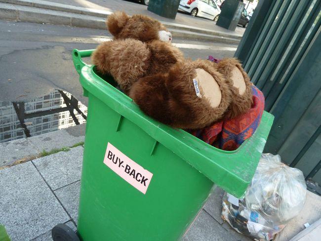 Donation Hotel Montparnasse Paris, France  Rescue Stuffed Animals Teddy Bear Trash Trashcan