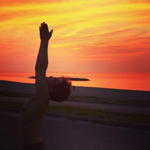 アシュタンガヨガ@石見海浜公園 Ashtangayoga Yoga Space Siddhi Yoga ヨガ アシュタンガヨガ 石見海浜公園 キャンプ 夕焼け