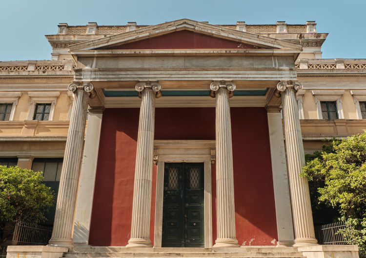 Monument Attica Neoclassical Wisdom Place Architecture University City Greece Neoclassic Classic Tourist Art Travel Educational Landmark Flag Façade Classical Column Greek Building Science Europe Academy View Culture Knowledge Tourism History Old Athens Sky National Education Marble Architectural Hellenic Famous Education Icon Capital Institution Education Concept