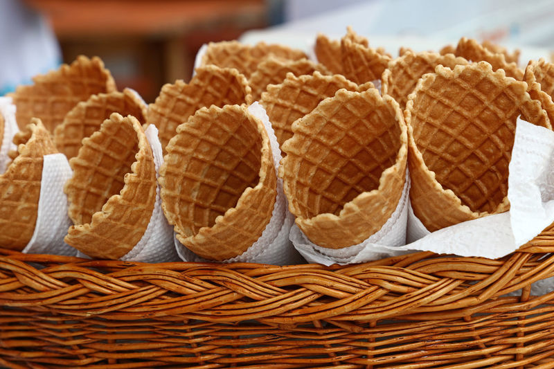 Waffle cones in a basket, waiting for ice-cream, close up Cuisine Dessert Summertime Waffle Waffle Time Waffles Basket Bread Close-up Cone Day Dessert Freshness Ice Cream Icecream Icecreamlover Ready-to-eat Street Streetfood Summer Sweet Sweet Food Sweets Tasty Waffle Cone