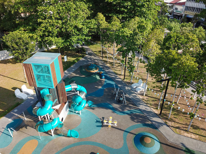 High angle view of swimming pool in park