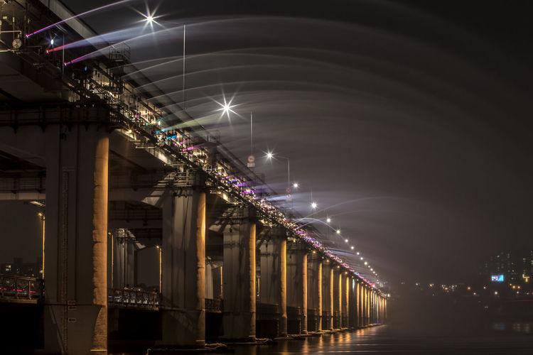 Banpo Bridge Over Han River Against Sky In City At Night