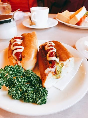 Hotdog and Coffee. Yummy time Breakfast Coffee Curry Japan Close-up Day Delicious Food Food And Drink Fresh Freshness Healthy Eating Hotday Indoors  Indulgence No People Plate Ready-to-eat Serving Size Table Yummy