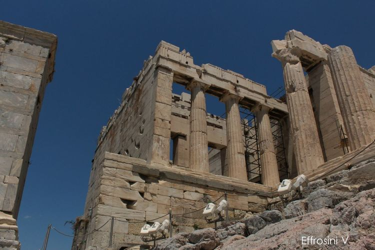 Acropolis, Athens Ancient Architectural Column Architecture Blue Day History Low Angle View No People Propylaea Sky The Past Travel Destinations