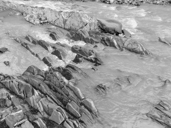 Black and whiite. Abundance Beauty In Nature Black And White Day Elevated View Flowing Water Idyllic Landscape Log Nature No People Non-urban Scene Outdoors Remote Scenics Tranquil Scene Tranquility Water