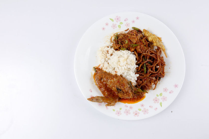 NASI AMBENG, INDONESIAN LOCAL FOOD Javanese Tradition Close-up Dinner Directly Above Food Food And Drink Freshness Fried Chicken Garnish Healthy Eating Herb Indonesia Food Indoors  Local Food Meal Meat Nasi Ambeng No People Plate Ready-to-eat Rice - Food Staple Serving Size Still Life Studio Shot Table Temptation Vegetable Wellbeing White Background