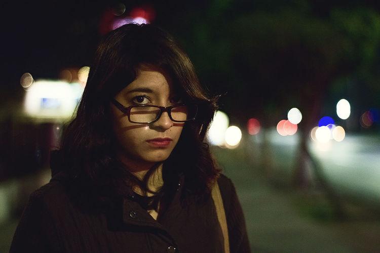 Nightphotography Bokeh Night Lights Portrait Of A Woman Portrait Of A Friend Portrait Photography Glasses