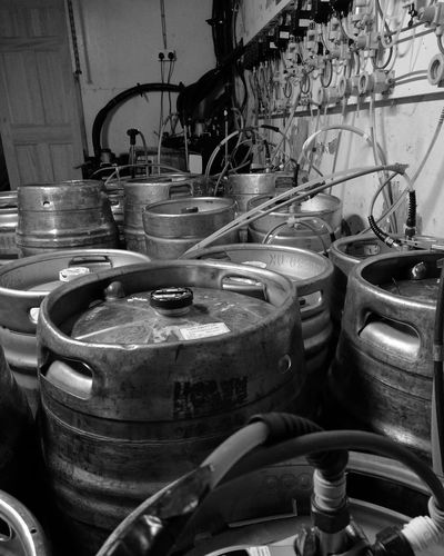 Casks Beer Cellar Pub No People Metal Indoors  Close-up Monochrome Photography Black & White Blackandwhite Photography Monochrome Large Group Of Objects Food And Drink Industry Indoors