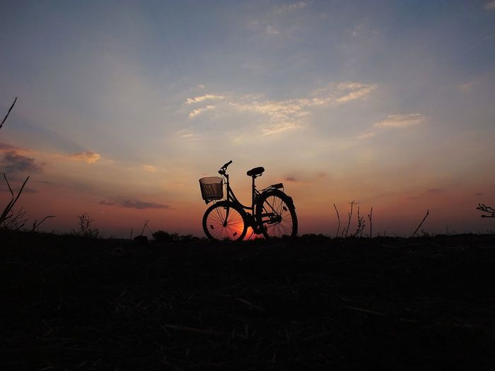 Sunset Sun Sunlight Sunset Desert Silhouette Match - Sport Sky Bicycle Bicycle Basket Cycling Bicycle Rack Riding Pedal