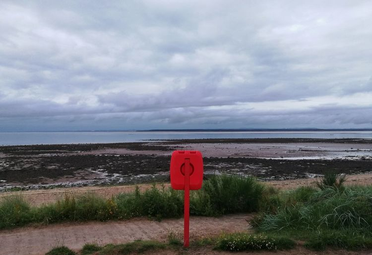 Sea Horizon Over Water Beach Cloud - Sky Red Nature Scenics Sky Beauty In Nature Tranquility Water Tranquil Scene Outdoors Day Protection No People Sand Horizon Grass 10.30 P.m. P10 Plus Photography Scottish Summer Lifesaver