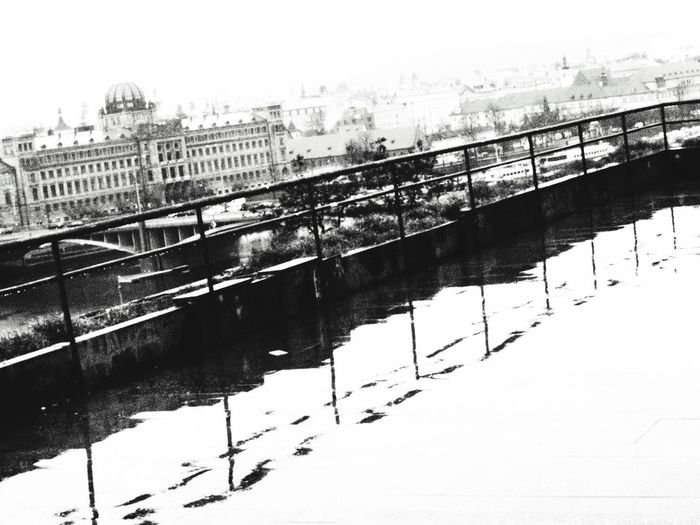 Learn & Shoot: Balancing Elements Reflection Railing Railing _ Collection Black And White Blackandwhite Photography Black & White Rainy Day Prague Praguelover