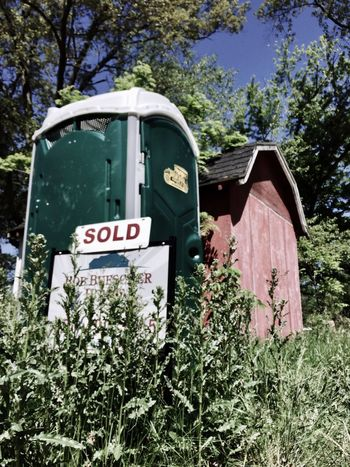 Clearly a hot property!... Tree Day Outdoors Plant No People Green Color Nature Porto Potty Sold Neglect Overgrown Weeds
