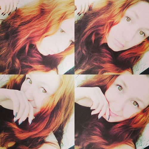 Selfie Selca Sun Pretty Ulzzang Ulzzanggirl Kawai Aegyo Kyopta Korean Style Orange Red Hair Green Eyes Makeup Chu Hand Home Me