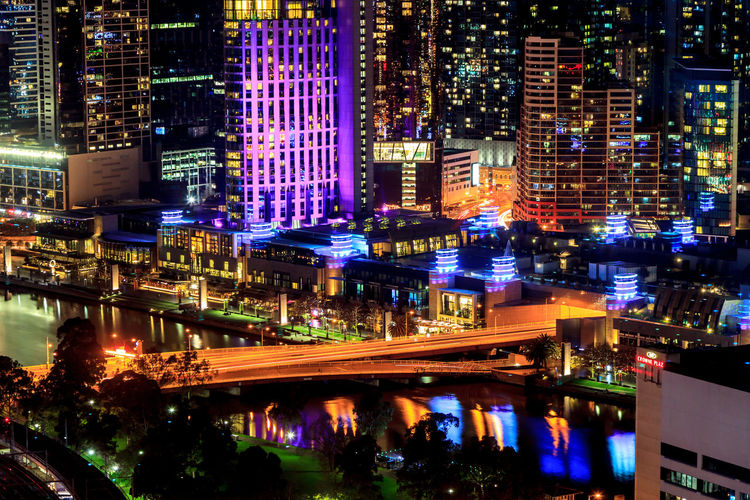 The Yarra River from above Architecture Building Building Exterior Built Structure City City Life Cityscape Glowing High Angle View Illuminated Modern Nature Night No People Office Building Exterior Outdoors Reflection Residential District Skyscraper Street Transportation Water
