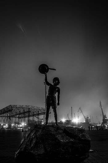 City Day Goodbye Klaipeda Nature Nifht Ships Sky Statue With