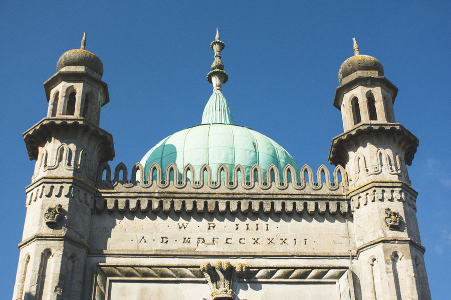 Architecture Brighton Brighton Royal Pavilion Brighton Uk Building Exterior Built Structure City Cultures Day Dome Low Angle View No People Outdoors Place Of Worship Religion Royal Pavilion Royal Pavilion Gardens Sky Travel Destinations