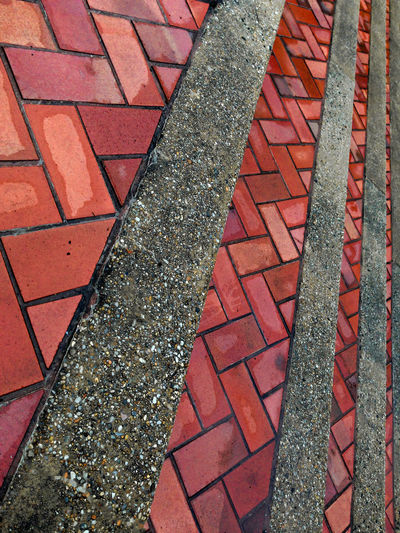 Alexandria, VA Backgrounds Bricks Close-up Concrete Day Design Detail Elevated View Full Frame Geometric Shape No People Orange Color Outdoors Pattern Pavement Raining Red Repetition Steps Steps And Staircases Wet