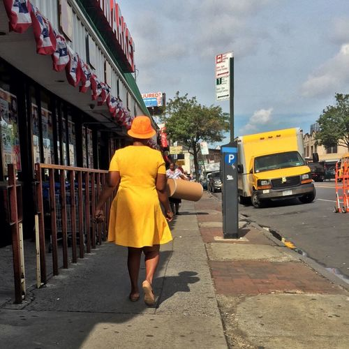 Paint The Town Yellow Rear View Real People Street Architecture Built Structure Full Length Building Exterior Walking Transportation Yellow Outdoors Mode Of Transport City One Person Land Vehicle Day Women Lifestyles Sky Adult Street Brooklyn New York City