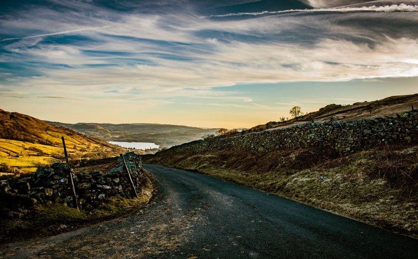 Road along countryside landscape