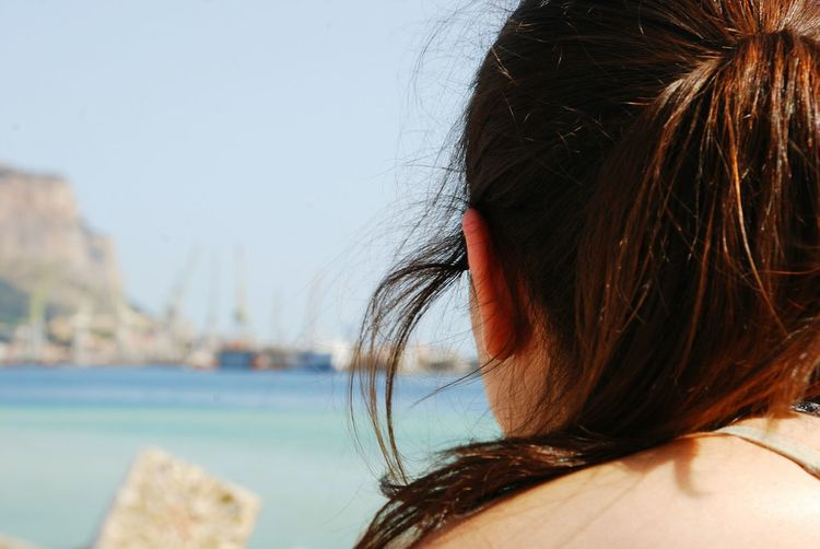 Sea Horizon Harbour Sun Lights Headshot One Person Hair Human Body Part Portrait Women Body Part Hairstyle Adult Close-up Young Adult Water Long Hair Human Hair Beauty Young Women Wind Focus On Foreground