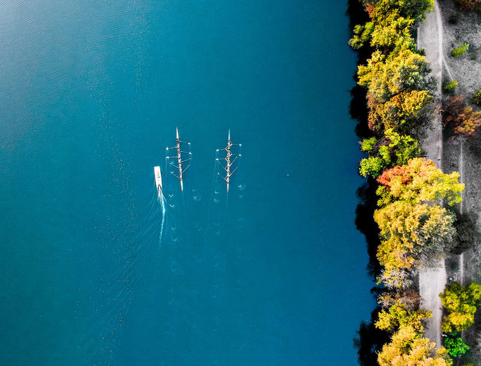 Boat Race  Canoe Canoeing Drone  Beauty In Nature Blue Day Dronephotography Nature No People Outdoors Sky Tree Water Fresh On Market 2018