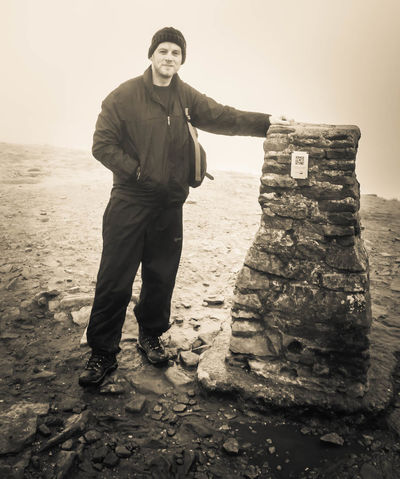 Adult Adults Only Day Desert Full Length Men Mountain One Man Only One Person Only Men Outdoors Pen-y-ghent People Smiling Standing Three Peaks Yorkshire Dales Yorkshire Three Peaks Young Adult