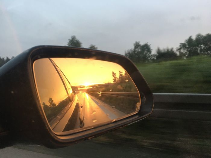 😍 such a great mood in this picture. Side-view Mirror Car Transportation Road Land Vehicle Tree Mode Of Transport Window Sky Reflection Sunset Travel No People Vehicle Mirror Road Trip Journey Car Interior Close-up Nature Outdoors